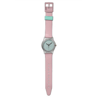Pink Flamingo on Teal Seamless Pattern Watch