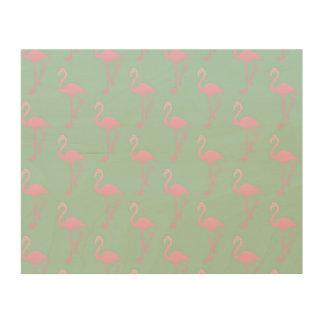 Pink Flamingo on Teal Seamless Pattern Wood Wall Art
