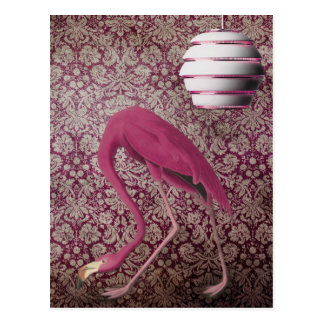 Pink Flamingo on Vintage Wallpaper Postcard