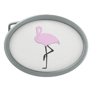 Pink Flamingo Oval Belt Buckles