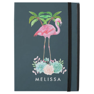 """Pink Flamingo Palm trees and Floral Succulents iPad Pro 12.9"""" Case"""