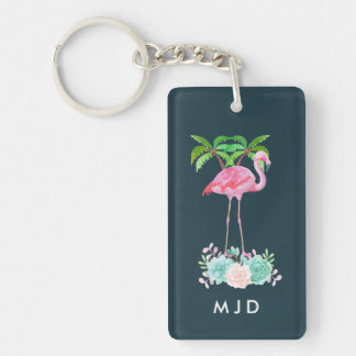 Pink Flamingo Palm trees and Floral Succulents Key Ring