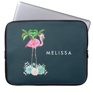 Pink Flamingo Palm trees and Floral Succulents Laptop Sleeve