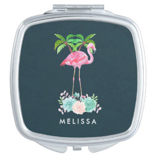 Pink Flamingo Palm trees and Floral Succulents Mirror For Makeup