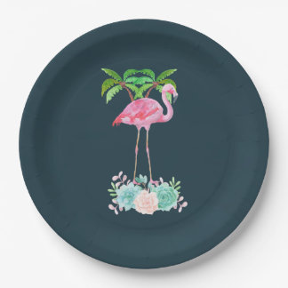 Pink Flamingo Palm trees and Floral Succulents Paper Plate