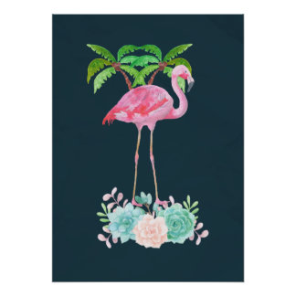 Pink Flamingo Palm trees and Floral Succulents Poster