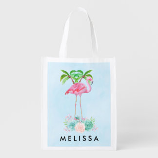 Pink Flamingo Palm trees and Floral Succulents Reusable Grocery Bag