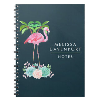 Pink Flamingo Palm trees and Floral Succulents Spiral Notebook
