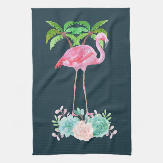 Pink Flamingo Palm trees and Floral Succulents Tea Towel