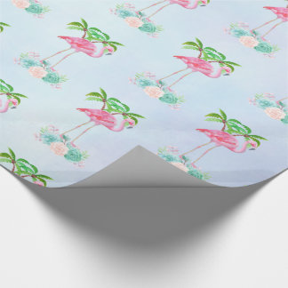 Pink Flamingo Palm trees and Floral Succulents Wrapping Paper