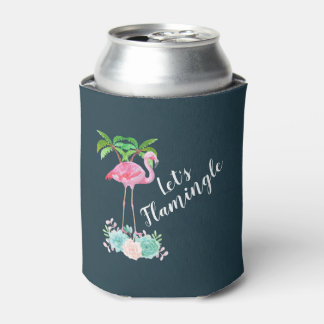 Pink Flamingo & Palm trees Let's Flamingle Can Cooler
