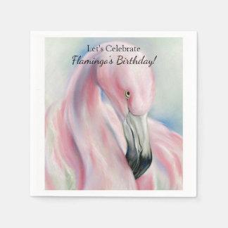 Pink Flamingo Pastel Art Disposable Serviette