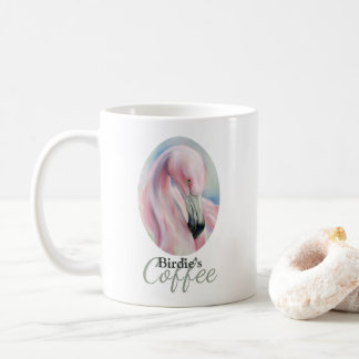 Pink Flamingo Pastel Art Personalized Coffee Mug