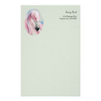Pink Flamingo Pastel Art Personalized Stationery