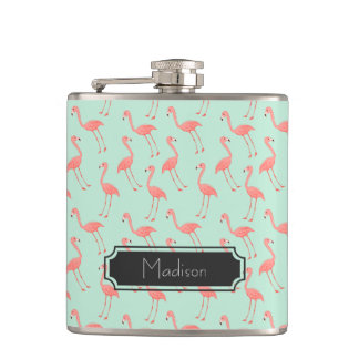 Pink Flamingo Pattern | Add Your Name Hip Flask