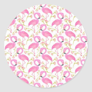 Pink Flamingo Pattern Classic Round Sticker