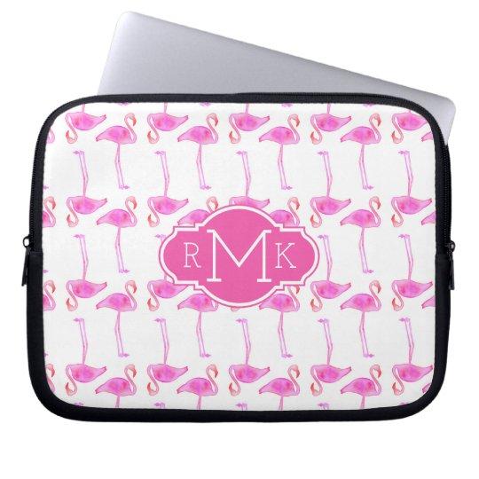 Pink Flamingo Pattern | Monogram Laptop Sleeve