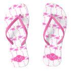 Pink Flamingo Pattern | Monogram Thongs