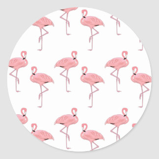 pink flamingo pattern round sticker