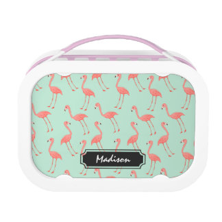 Pink Flamingo Pattern with First Name Lunch Box