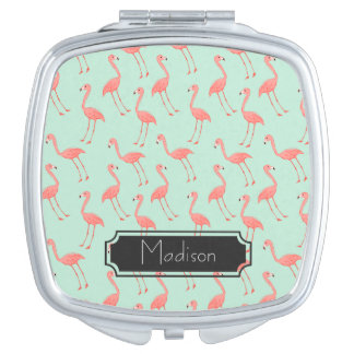 Pink Flamingo Pattern with First Name Makeup Mirror