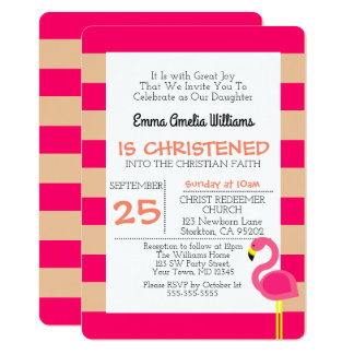 Pink Flamingo Personalized Baptism Invitation