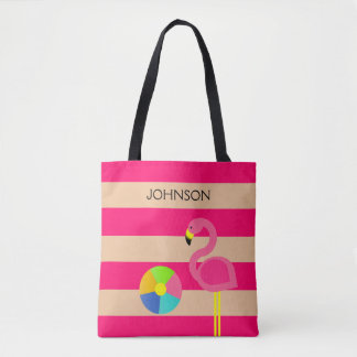 Pink Flamingo Personalized Beach Tote