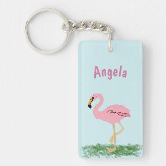 Pink Flamingo Personalized Double-Sided Rectangular Acrylic Key Ring