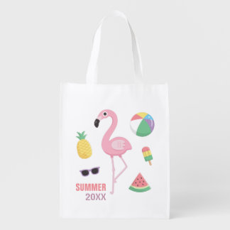 Pink Flamingo Pineapple Watermelon Grocery Bag