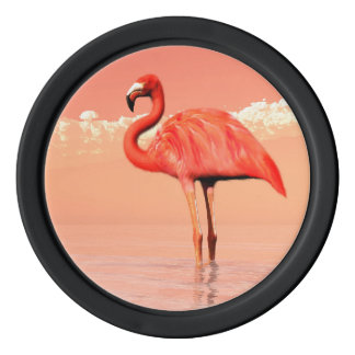 Pink flamingo poker chips