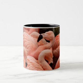 Pink flamingo print coffee mug