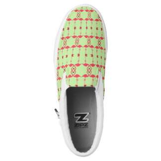 Pink Flamingo Repeat Abstract Lime Green Sneaker Slip-On Shoes