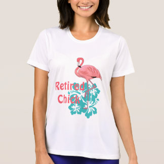 Pink Flamingo Retired Chick Tropical Flowers T-Shirt