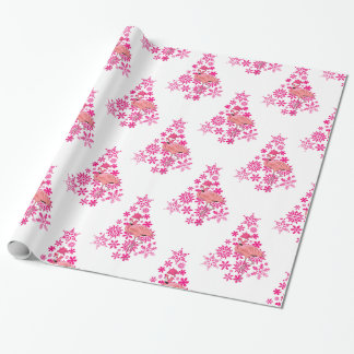 Pink Flamingo Santa Snowflake Christmas Tree Wrapping Paper
