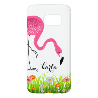 Pink Flamingo & Spring Flowers