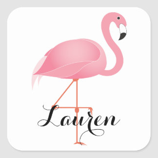 Pink flamingo square sticker