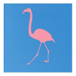 Pink Flamingo Stencil Acrylic Wall Art