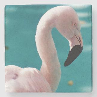 Pink flamingo stone coaster