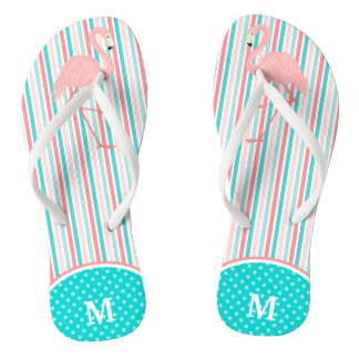 Pink Flamingo Stripe Monogram Thongs