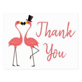 Pink Flamingo Thank You Tropical Wedding, Bridal Postcard