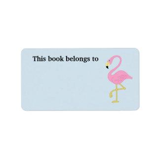 Pink Flamingo This Book Belongs To Label