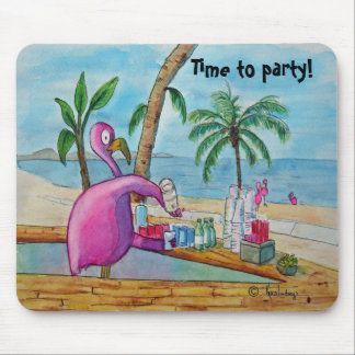 Pink Flamingo Time to Party Mousepad Watercolor
