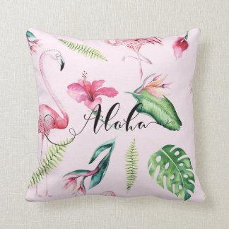 Pink Flamingo Tropical Aloha Hibiscus Summer Throw Pillow