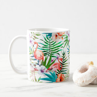 Pink Flamingo Tropical Floral Flowers Chic Coffee Mug