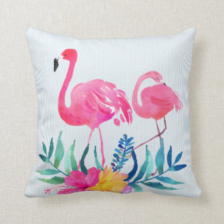 Pink Flamingo Tropical Flowers Throw Pillow