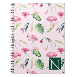 Pink Flamingo Tropical Hibiscus Floral Fun Summer Notebook