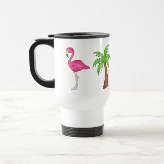 Pink Flamingo Tropical Island Palm Tree Paradise Travel Mug