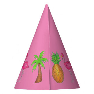 Pink Flamingo Tropical Island Palm Tree Pineapple Party Hat