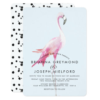 Pink Flamingo Tropical Style Wedding Card
