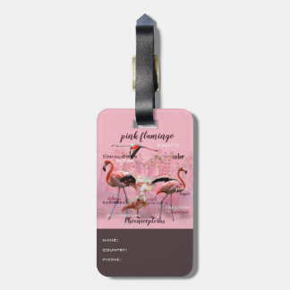 Pink Flamingo Typography | Customized Luggage Tag